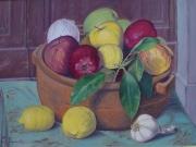 Natura morta con mele e limoni