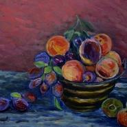 frutta in vaso di rame