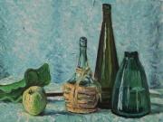 Fiaschetto con bottiglie verdi